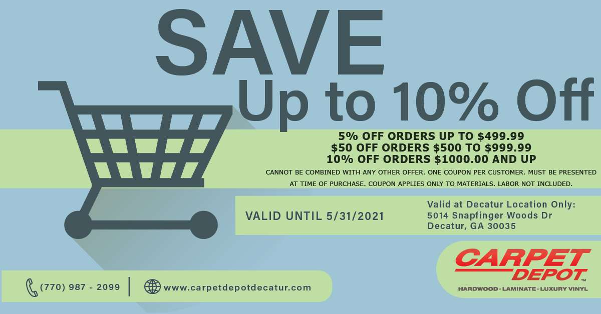5% OFF ORDERS UP TO $499.99 $50 OFF ORDERS $500 TO $999.99 10% OFF ORDERS $1000.00 AND UP